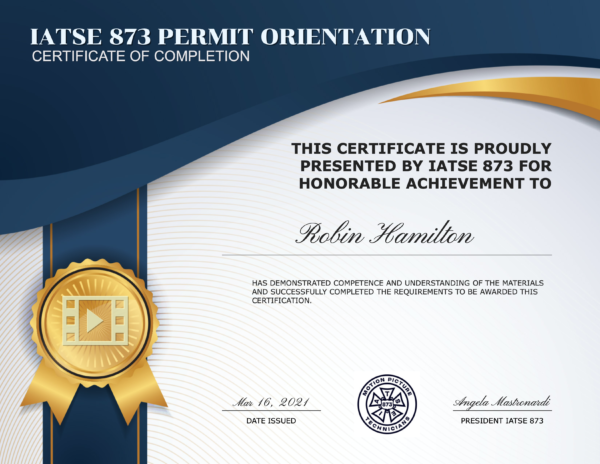 IATSE 873 Permit Orientation Certificate of Completion